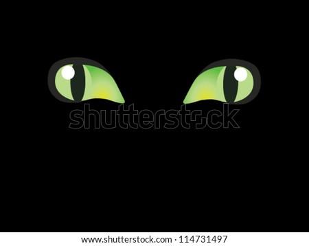 vector cats eyes in darkness - stock vector