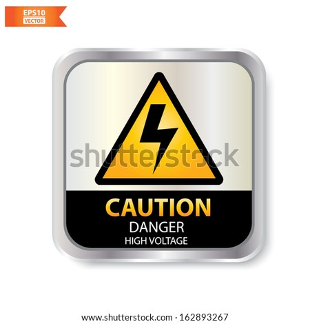 Vector : Caution with danger high voltage text and sign isolated. Eps10.  - stock vector