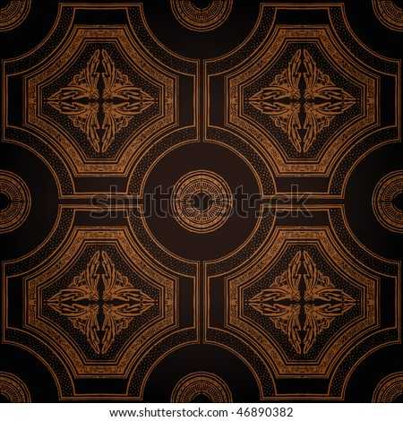 Vector ceiling tile seamless vintage decorative black - stock vector