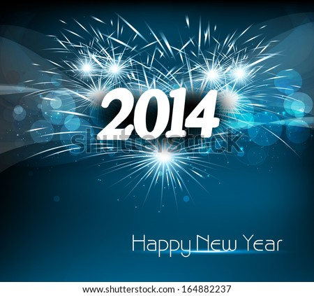 Vector celebration colorful happy new year 2014 background - stock vector