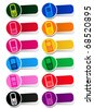 Vector Cellphone Icons / Labels in colors - stock vector