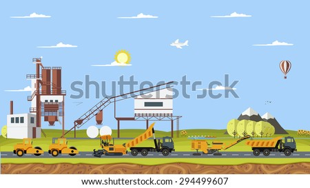 Vector cement factory and work machines paver, asphalt, road construction, cold milling machine, tipper, car, SUV - stock vector