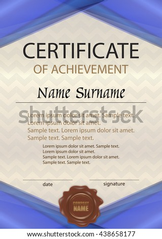 Vector certificate of achievement or diploma with wax seal. Template blue vertical. Reward. Award winner. Winning the competition. The text on separate layers. - stock vector