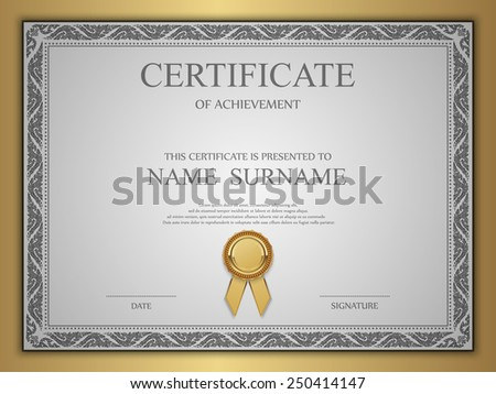 Vector certificate template. - stock vector