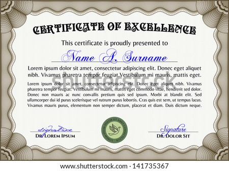 Vector certificate with sample and outlined text. Very complex border design - stock vector
