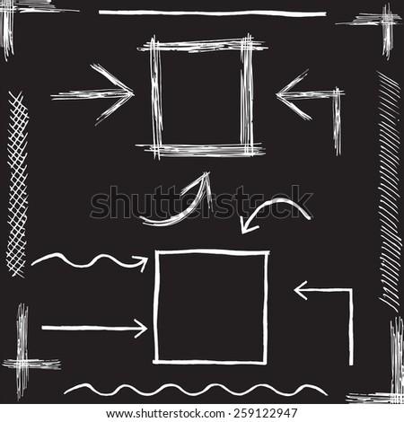 Vector Chalk Arrows. Hand drawn vector illustration Eps 8. - stock vector