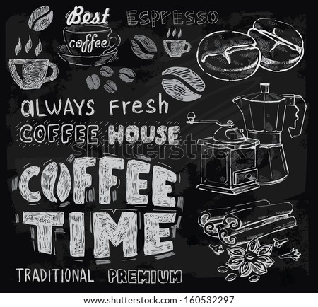 vector chalk coffee on chalkboard background - stock vector