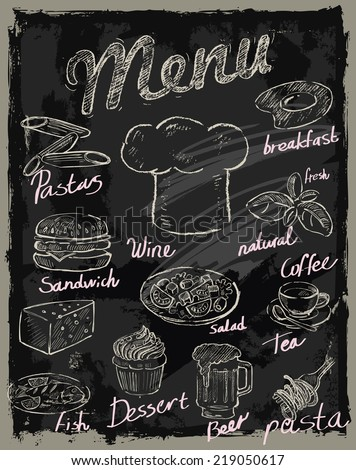 vector chalk menu and food on chalkboard background - stock vector