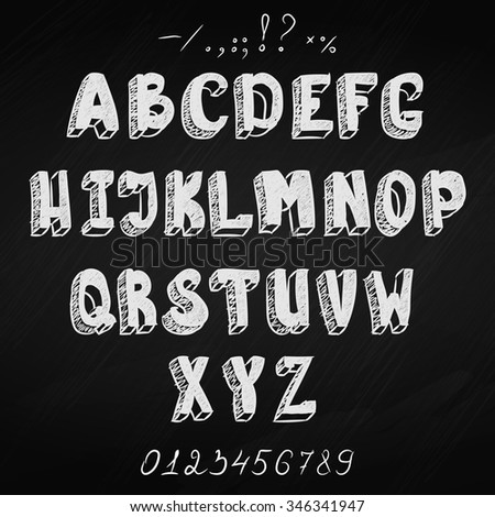 Vector chalk textured font with digits on blackboard background. - stock vector