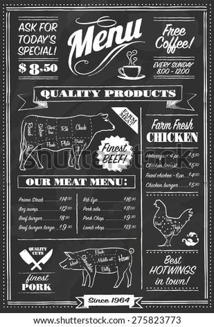 Vector Chalkboard restaurant menu - stock vector
