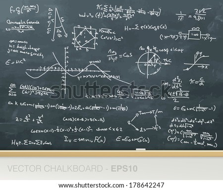 Vector chalkboard with mathematics formulas - stock vector