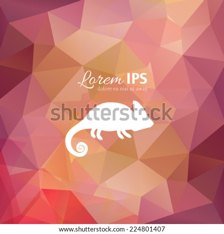Vector chameleon logotype on multicolor polygonal background. White animal silhouette on colorful backdrop. Lizard logo design template. - stock vector