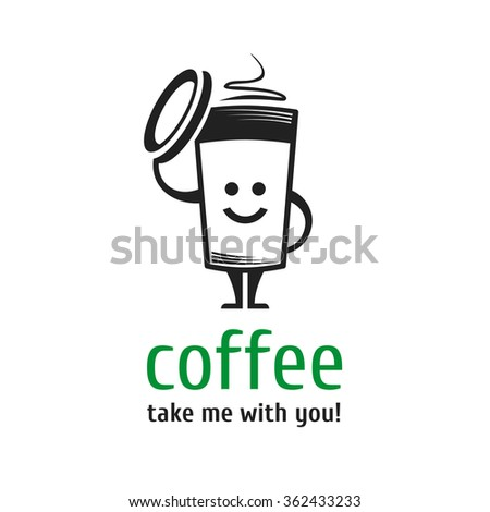 Vector character cup of coffee. Template logo for coffee shops, takeaway coffee, coffee to go. Smiling cup of coffee. - stock vector