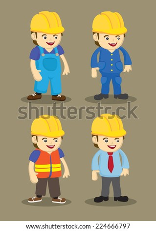 Vector character design of workers and professionals wearing yellow helmet in building and construction industry. - stock vector