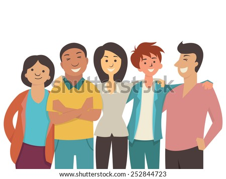 Vector character flat design of diverse happy people, teenager, muti-ethnic, smiling and joyful together.  - stock vector