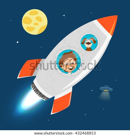 Vector character illustration of child kid boy and rocket in space - stock vector