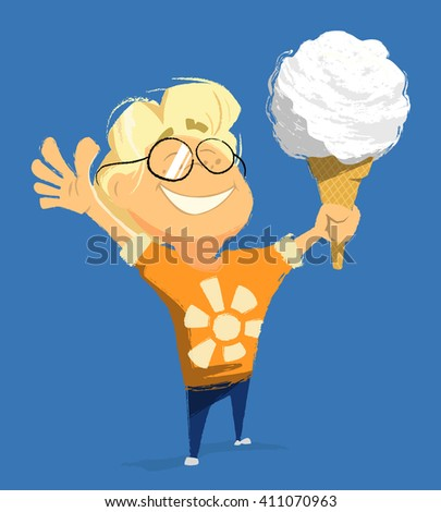 Vector character illustration of happy smile child boy kid hold and eat ice cream in summer day  - stock vector