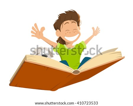 Vector character illustration of happy smile kid boy child flying on a big open book with cute puppy. - stock vector