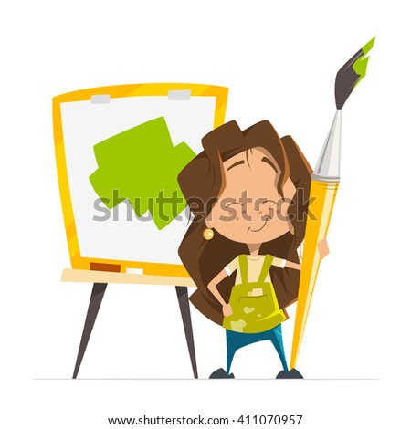 Vector character illustration of little cute girl painting a picture holding big paint art brush standing near easel with paper - stock vector