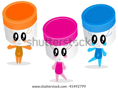 Vector character illustrations of thee plastic (medicine, health care) jars (containers). All vector objects and details are isolated and grouped. Colors and background color are easy to adjust. - stock vector