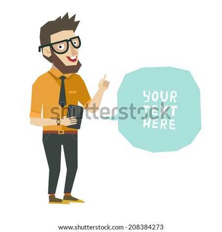 Vector character in flat style, smart man with advice in bubble - stock vector