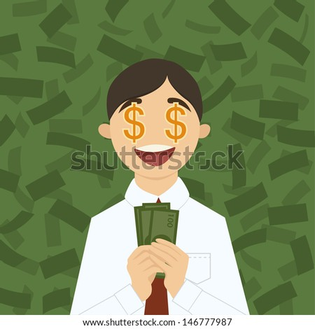 Vector character with money - stock vector