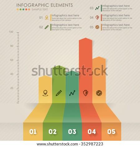 Vector chart info-graphics. Info-graphic elements. - stock vector