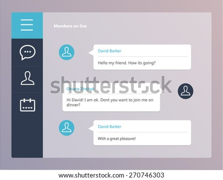 Vector chat frames: message boxes for your text. Modern flat interface - stock vector