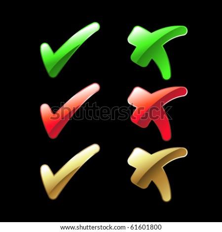Vector check mark buttons - stock vector