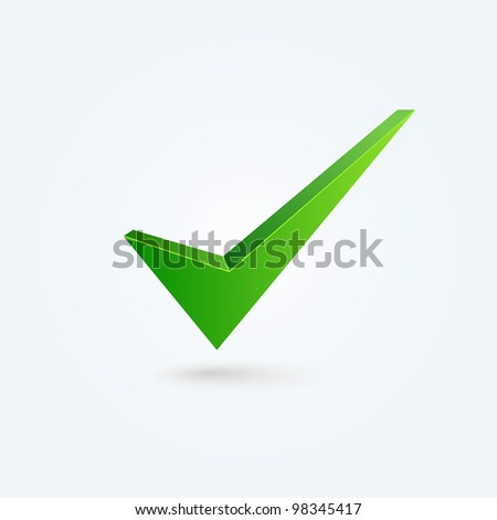 Vector check mark isolated on blue background - stock vector