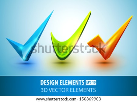 Vector check mark set. - stock vector