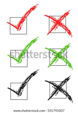 vector check marks red green blue - Vector - stock vector
