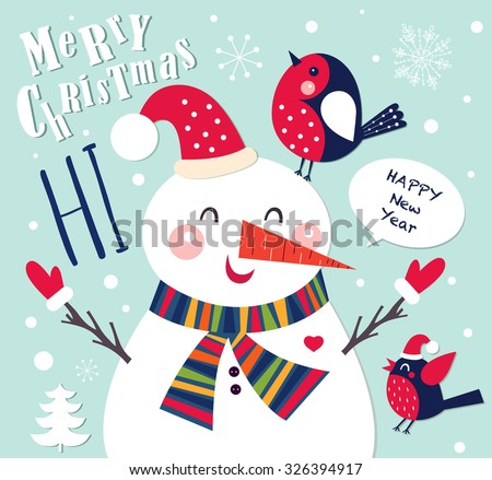 Vector Cheerful Christmas card with Snowman. Merry Christmas and Happy New Year. - stock vector