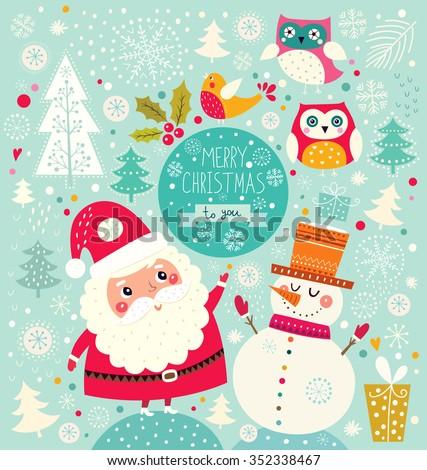 Vector Cheerful Christmas illustration with Snowman and Santa Claus - stock vector