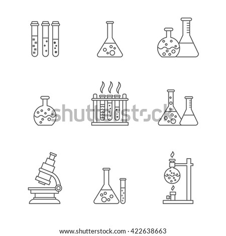 Vector chemical processing equipment - Beaker, burner, test tubes, microscope, retorts. Set of line icons isolated on white. Linear design. Illustration of chemistry, medicine, science etc - stock vector