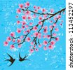 vector cherry blossom with swallows - stock vector