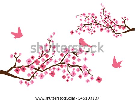 vector cherry branches in blossom with birds - stock vector