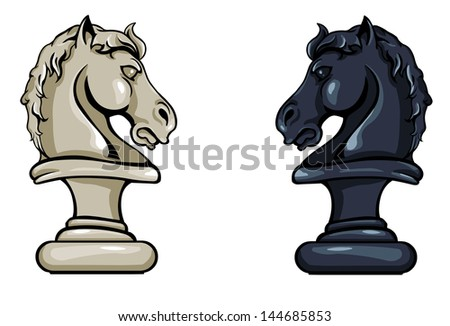 vector chess Knight: black and white variation - stock vector