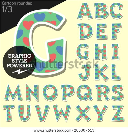Vector children alphabet set in country style with colorful hearts. File contains graphic styles available in Illustrator. Uppercase letters - stock vector