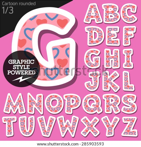 Vector children alphabet set in flirty pink heart style. File contains graphic styles available in Illustrator. Uppercase letters - stock vector