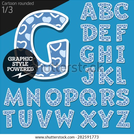 Vector children alphabet set in lovely heart style. File contains graphic styles available in Illustrator. Uppercase letters - stock vector