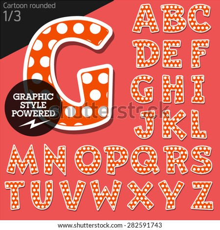 Vector children alphabet set in playful dots style. File contains graphic styles available in Illustrator. Uppercase letters - stock vector