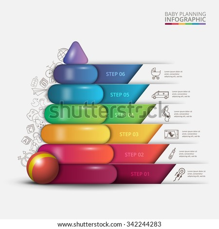 Vector children pyramid for infographic. Planning for pregnancy. Business concept with 6 options, parts, steps or processes - stock vector
