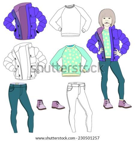 Vector. Children's clothing. - stock vector