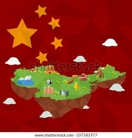 vector China map ,China landmark ,cute island with china flag background. - stock vector