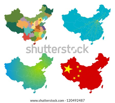 Vector China Map set - stock vector