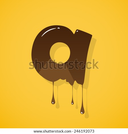 """Vector chocolate letter """"a"""" over yellow background - stock vector"""