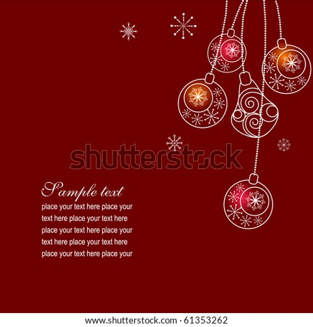 Vector christmas background with contour balls - stock vector