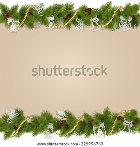Vector Christmas Background with Decorations - stock vector