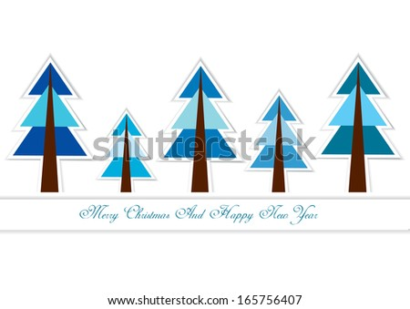 vector christmas background with paper trees - stock vector